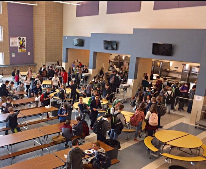 Kids rushing around at B lunch to get all their food, taken February 21st.