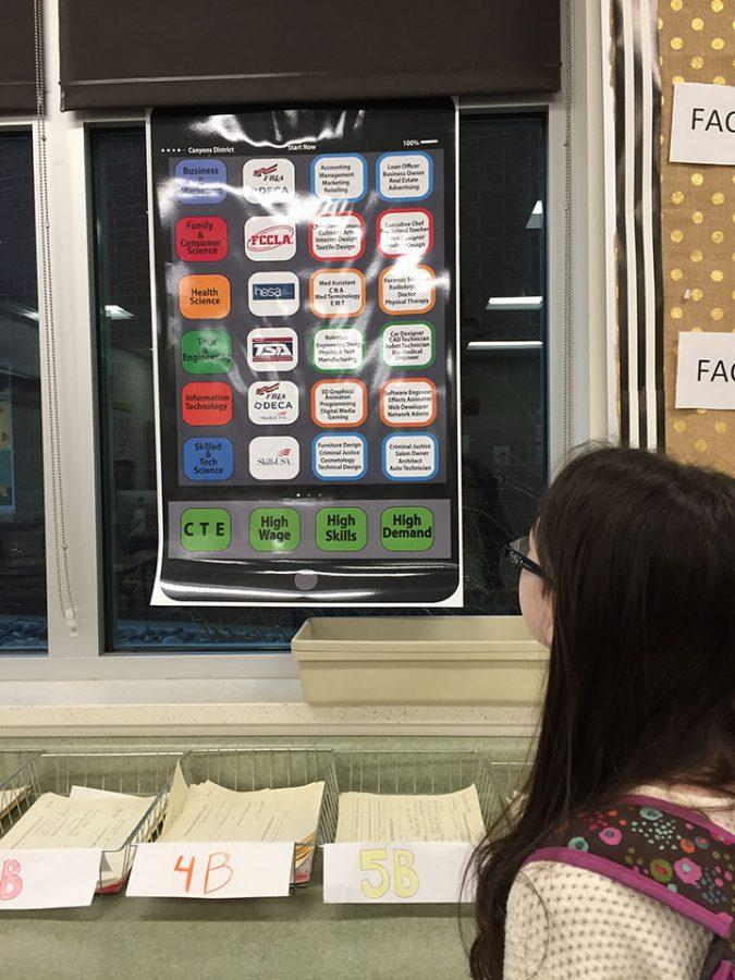 Lily Nahoopii looking at a career poster in a FACS classroom on February 16, 2017.