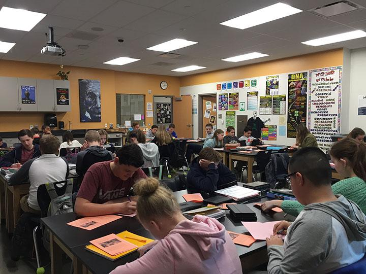 Students in a science class that they can take to prepare for their future careers taught by Amy Valdez on February 16, 2017.