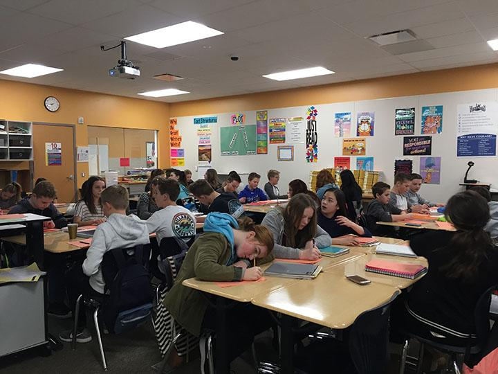 Students in an English class that they can take to prepare for their future careers taught by Kimberly Carter on February 16, 2017.