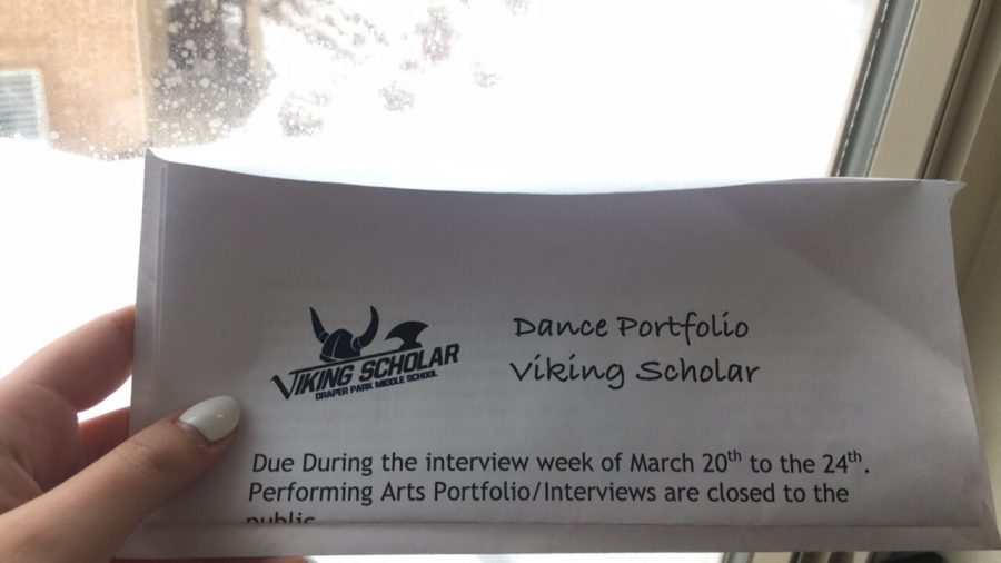 A letter given to a student about the Viking Scholar February 25, 2017.