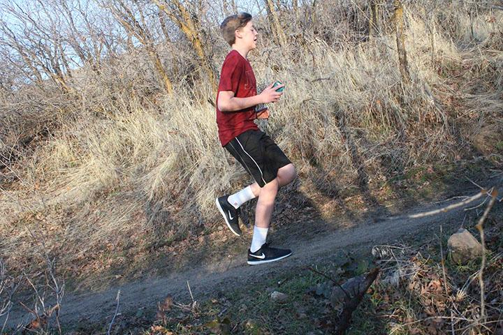 Cade Ewell on the Oak Hollow trail           using Runtastic to do some afternoon running on February 15, 2017.