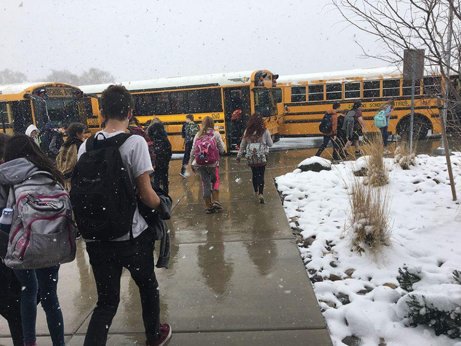 Winter day, students rushing to get to the bus, February 23
