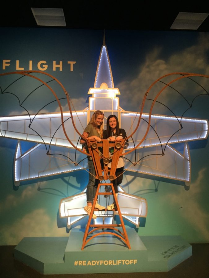Macie Savage and Abbey Aamodt participate in learning more about the flight exhibit on February 8th, 2016