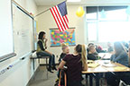 Ms Wardrop teaching her students about the Great Depression.