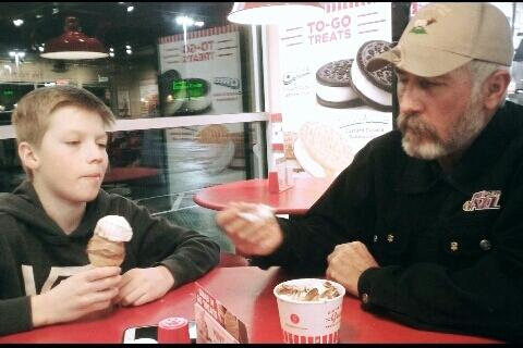 This is Gatlin and Jay Jessop eating ice cream at Freddy's on February 28, 2017.
