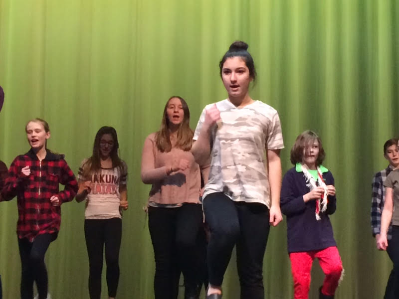 Aria Alger and other students in the play February 24th, 2017 Draper Park Auditorium