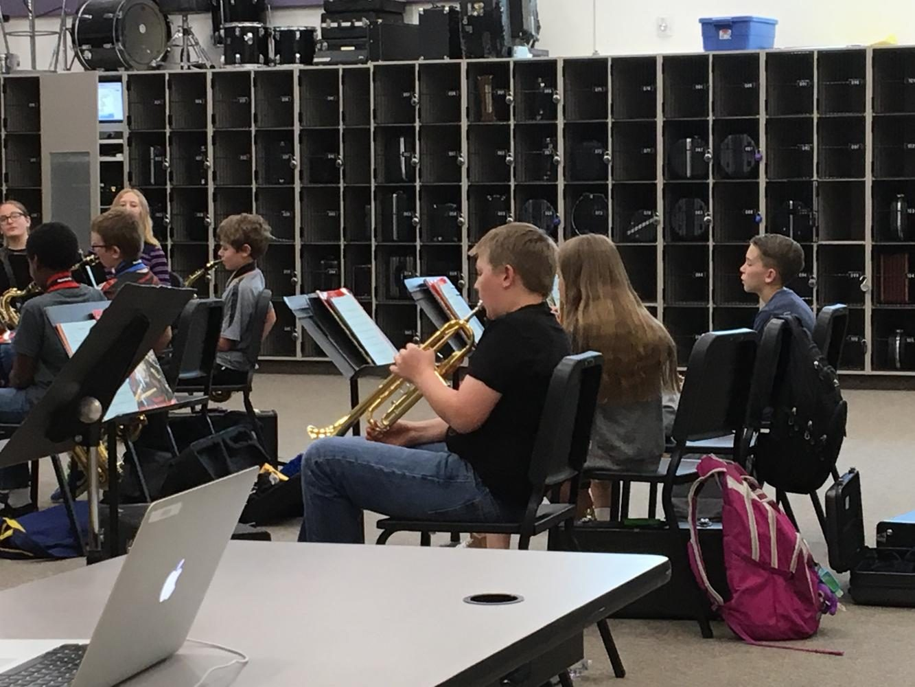 Mr. Voght's students in his 4a class are practicing their instruments. This photo was taken on April 24 in his classroom.