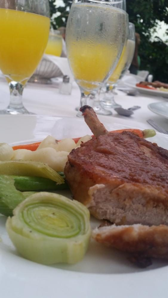 The Main Course at La Caille was a delicious pork chop with creamy sauce