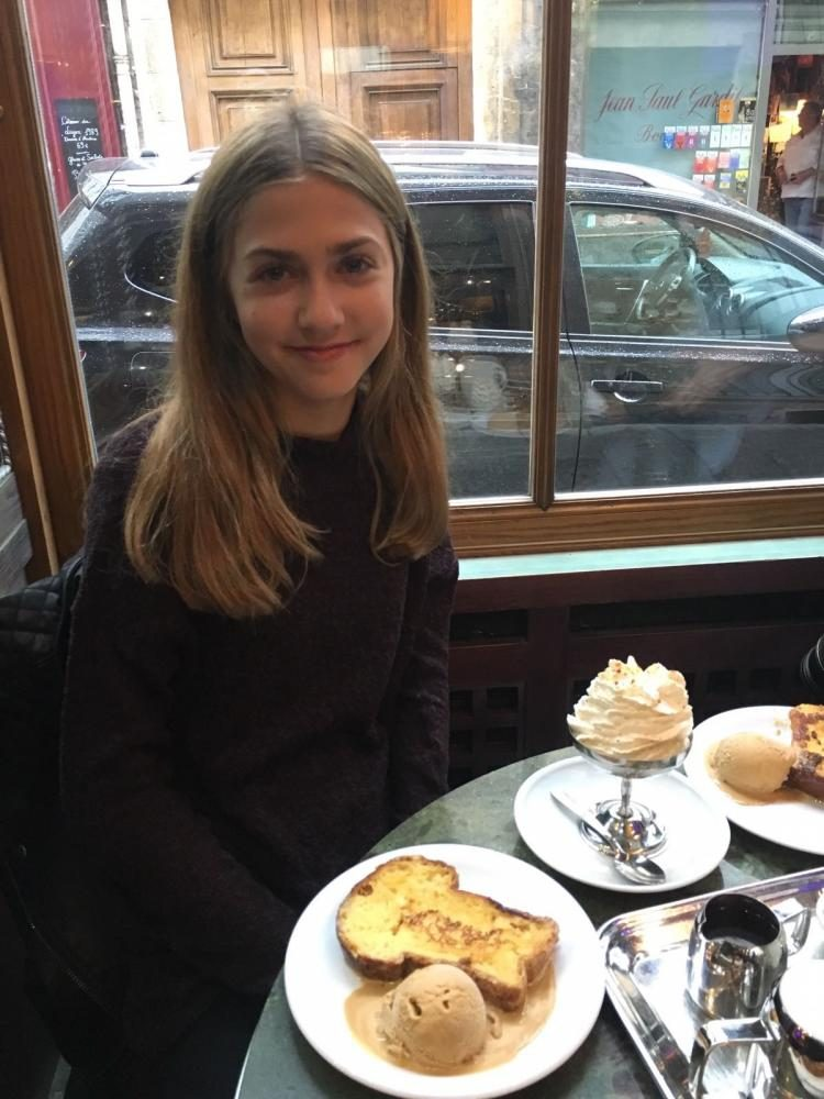 Brynn Franckowiak eats french toast and ice-cream on one of the islands in Paris, on September 2016.