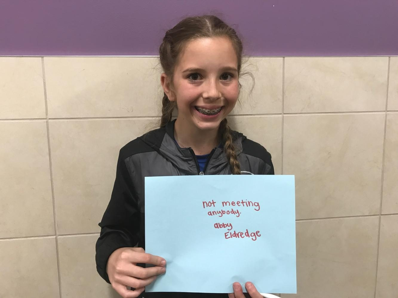Abby Eldredge holding her fear going into middle school, Not meeting anybody.