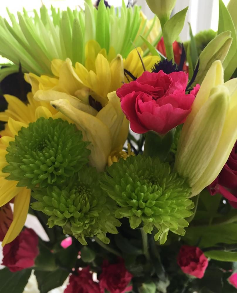 Yellow, green, and pink flowers; The perfect bouquet combination!