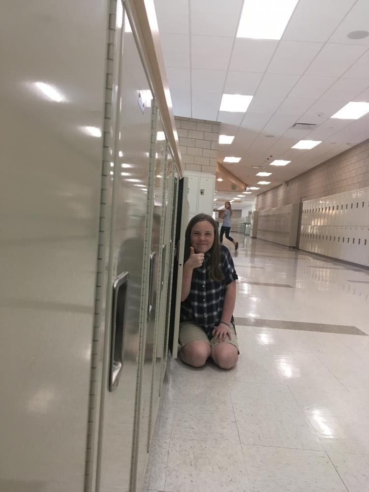 Kate Cavin showing how awesome using a locker can be, taken on May 12th at DPMS.