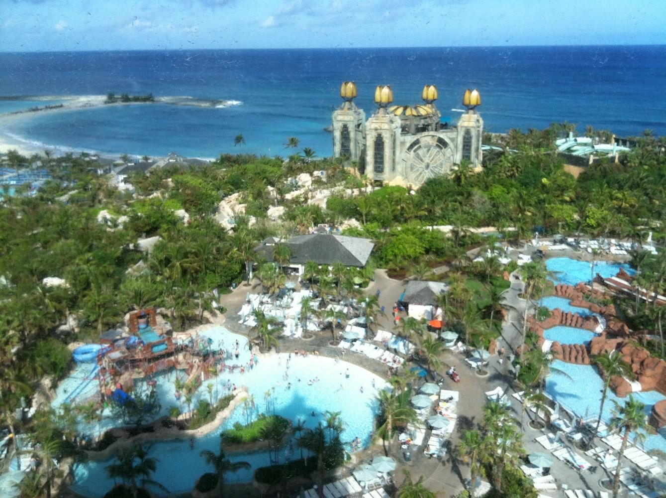 A corner room view of the Bahamas.