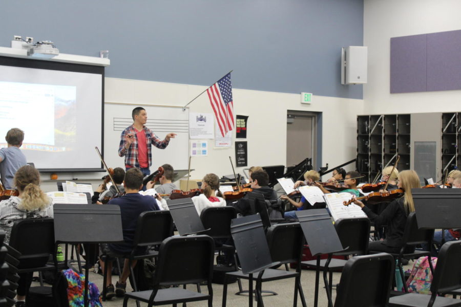 Orchestra+and+Band+Students+Prepare+for+Concert